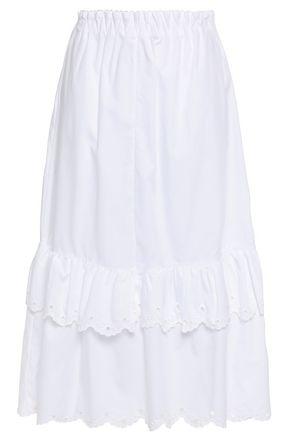 McQ Alexander McQueen Scalloped broderie anglaise-trimmed cotton-poplin midi skirt