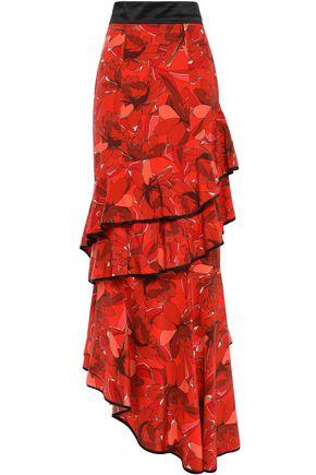"JOHANNA ORTIZ تنورة طويلة ""أمارانتو"" بطبقات من مزيج الحرير والقطن مطبعة بالورود"