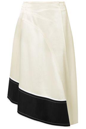 DEREK LAM Asymmetric cotton poplin-trimmed satin-crepe midi skirt