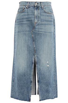 RAG & BONE Clyde frayed faded denim midi skirt