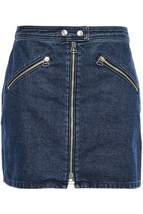 RAG & BONE Racer zip-detailed denim mini skirt
