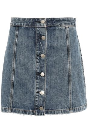 RAG & BONE Holt button-detailed frayed denim mini skirt