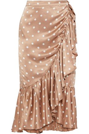 The Miley Ruffled Polka Dot Silk Charmeuse Wrap Skirt by Cami Nyc