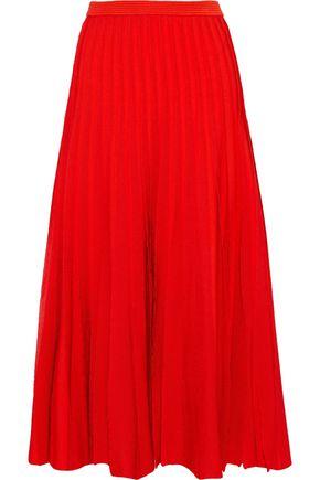 CAROLINA HERRERA Pleated stretch-knit midi skirt