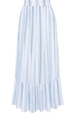 ANTIK BATIK Serifos gathered striped cotton-gauze maxi skirt