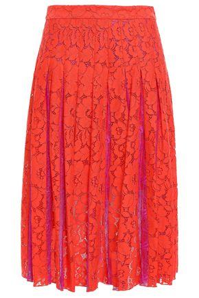DIANE VON FURSTENBERG Pleated corded lace midi skirt