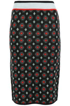 DIANE VON FURSTENBERG Metallic-trimmed merino wool-blend jacquard pencil skirt