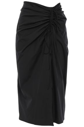 CAROLINA HERRERA Wrap-effect ruched cotton-blend poplin skirt