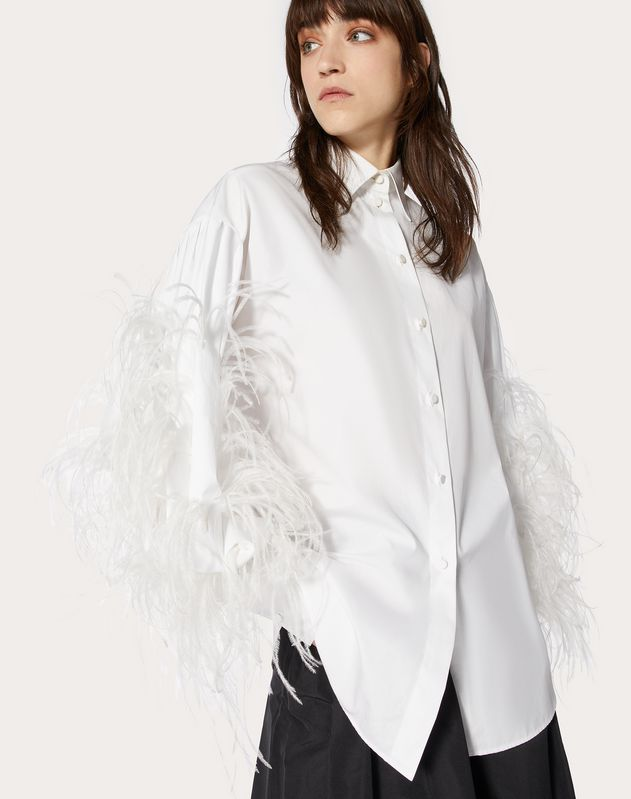 Feather Embroidery Poplin Shirt