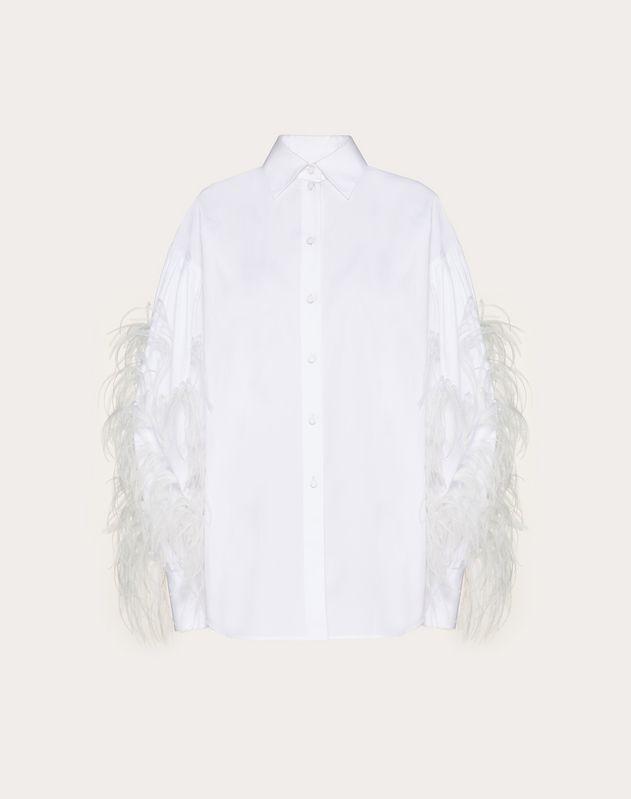 Bestickte Hemdbluse aus Popeline mit Federn