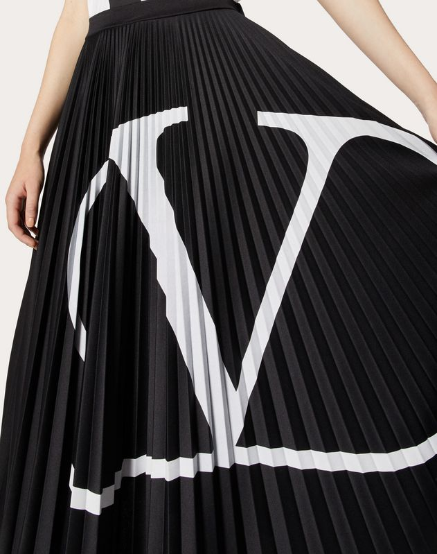 VLOGO Pleated Jersey Skirt