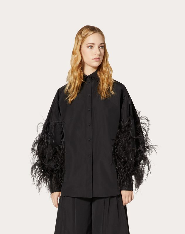 Micro-Faille Shirt with Feathers