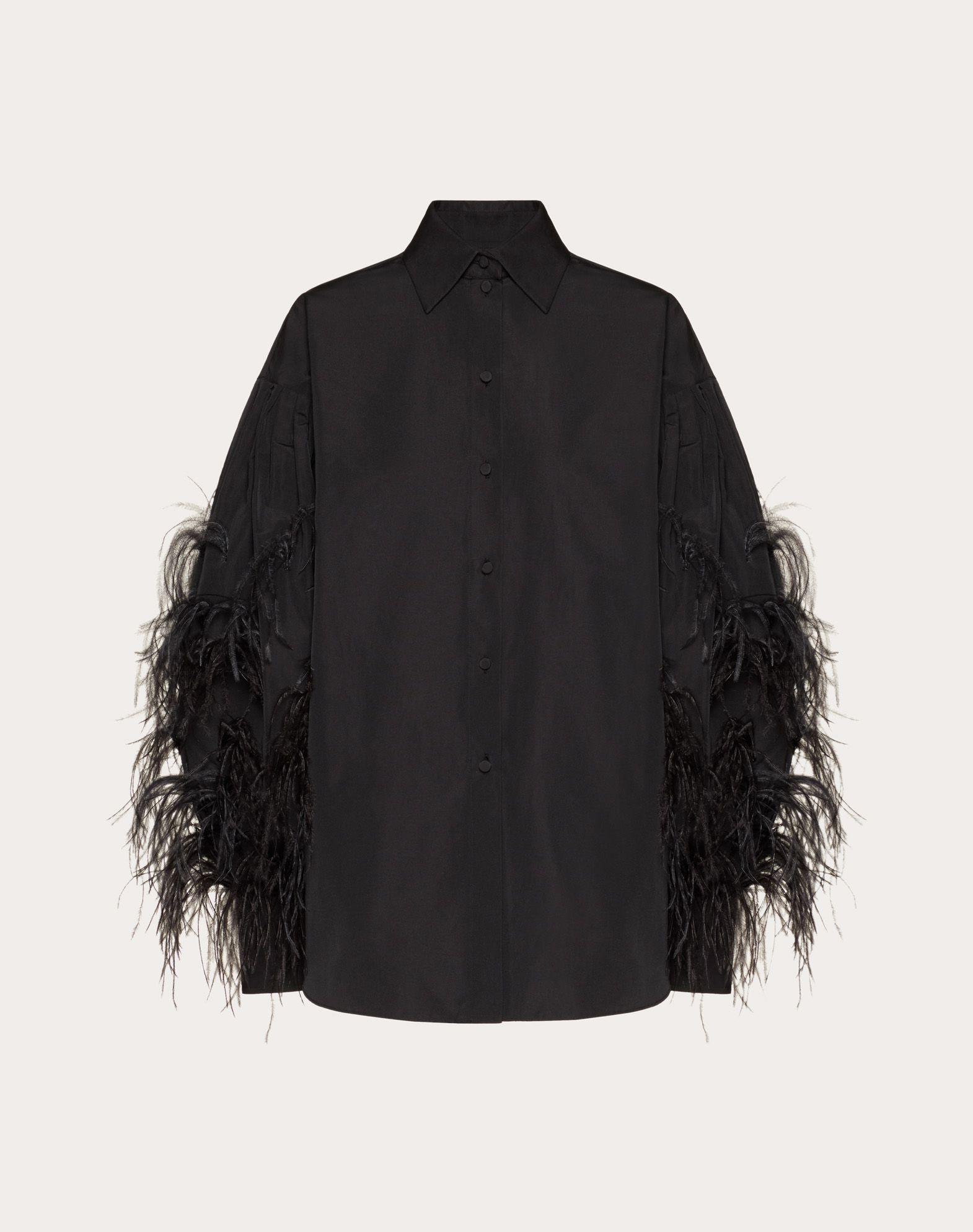 Camicia in Micro Faille con piume