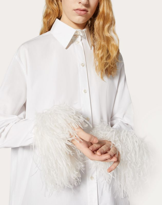 Poplin Shirt with Feathers