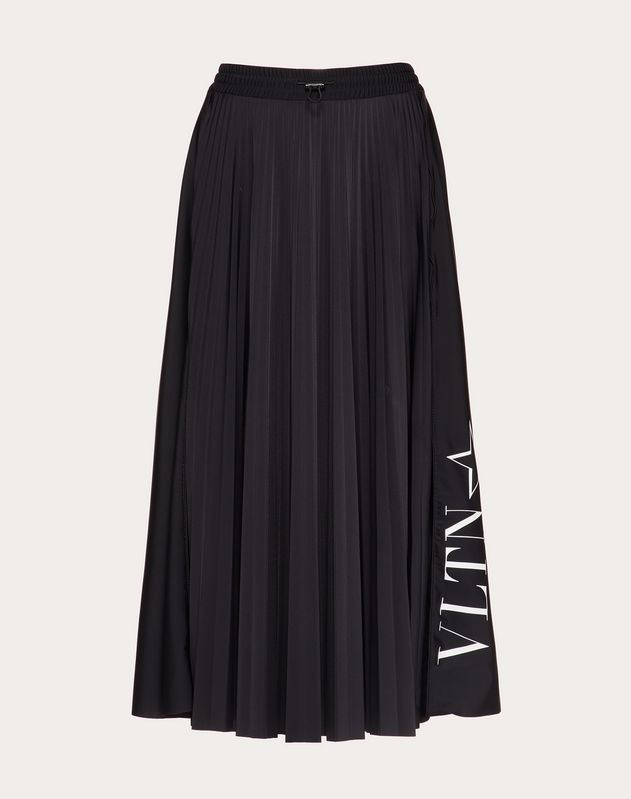 Pleated Jersey Skirt with VLTNSTAR Print
