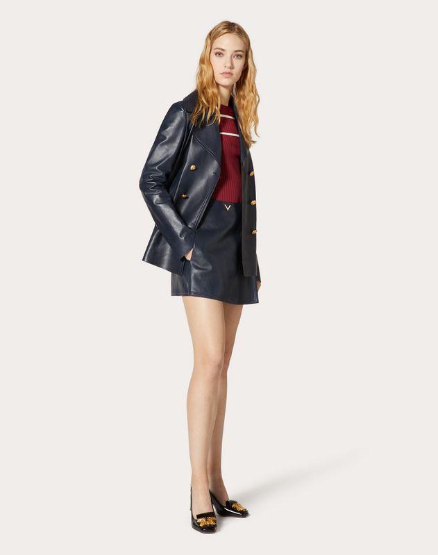 Gold V Leather Skirt