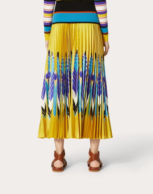 Pleated Twill Skirt with Print