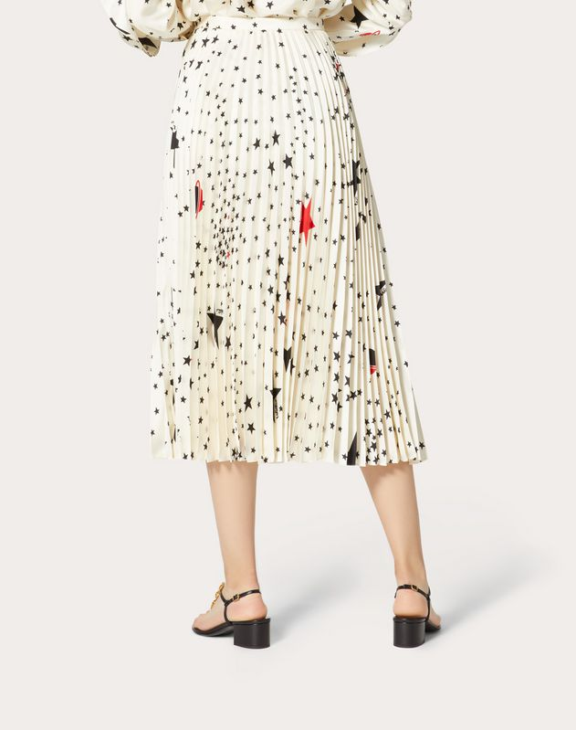 Printed Twill Pleated Skirt