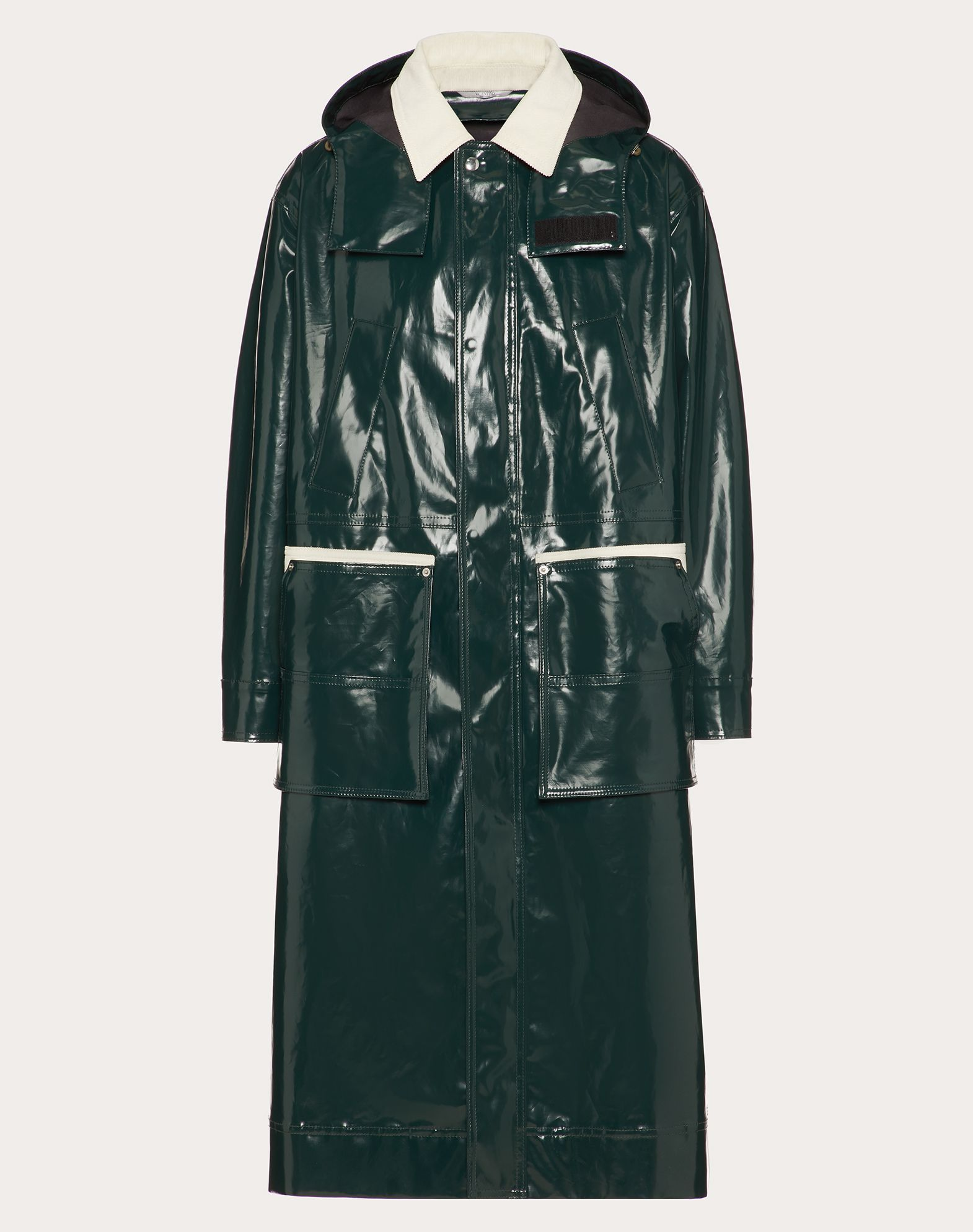 FAUX-PATENT-LEATHER-EFFECT COTTON PARKA