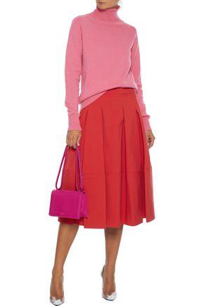 Oscar De La Renta Skirts OSCAR DE LA RENTA WOMAN PLEATED COTTON-BLEND POPLIN SKIRT RED