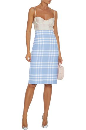 Oscar De La Renta Skirts OSCAR DE LA RENTA WOMAN CHECKED WOOL-BLEND PENCIL SKIRT LIGHT BLUE