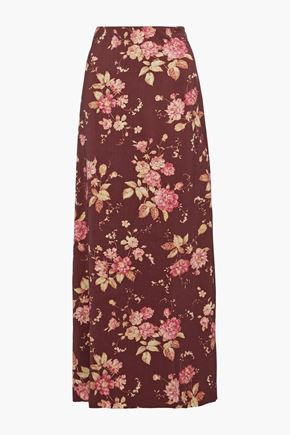 ZIMMERMANN Unbridled Contour floral-print wool-blend maxi skirt
