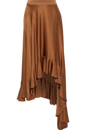 ZIMMERMANN Unbridled Valiant asymmetric ruffled charmeuse skirt