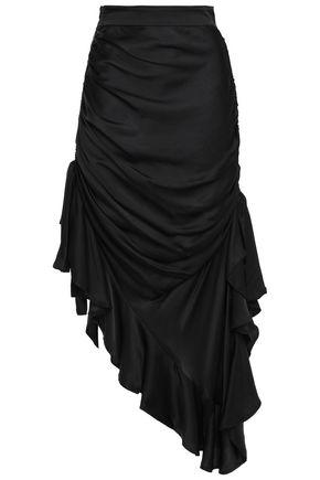 ZIMMERMANN Asymmetric ruched silk-satin skirt