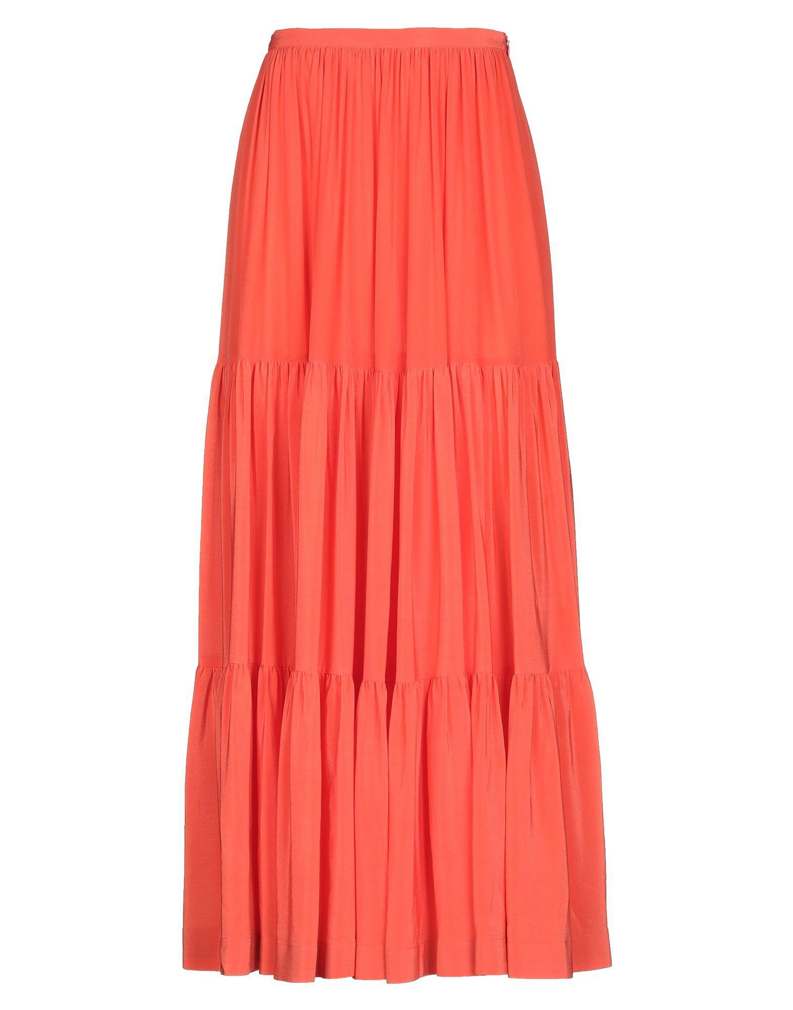 《セール開催中》GIANLUCA CAPANNOLO レディース ロングスカート オレンジ 40 シルク 100%