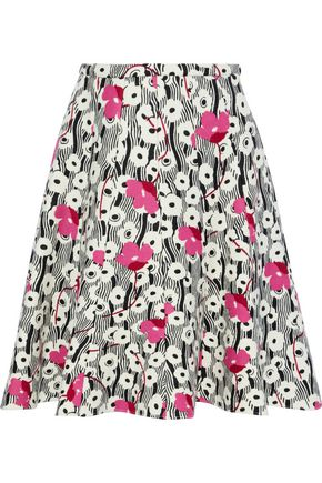 VALENTINO Flared floral-print wool-twill skirt