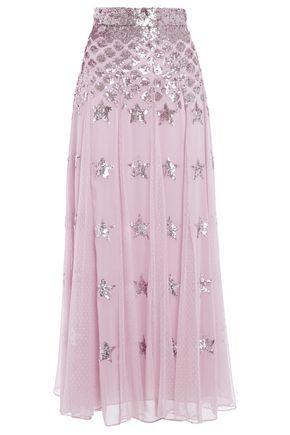 TEMPERLEY LONDON Sequin-embellished point d'esprit maxi skirt