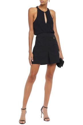 A.l.c Skirts A.L.C. WOMAN EMBELLISHED COTTON-BLEND CREPE MINI SKIRT BLACK