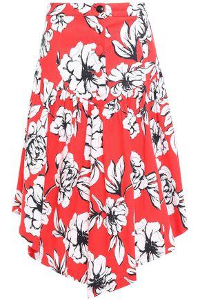 MARISSA WEBB Asymmetric floral-print stretch cotton-ottoman skirt