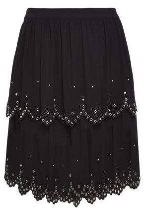 MICHAEL MICHAEL KORS Tiered scalloped embellished crepe de chine mini skirt