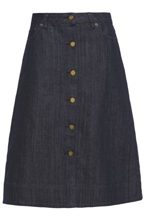 MICHAEL MICHAEL KORS Flared button-detailed denim skirt
