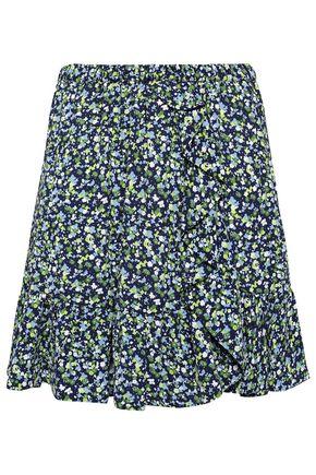 MICHAEL MICHAEL KORS Ruffle-trimmed floral-print crepe de chine mini skirt