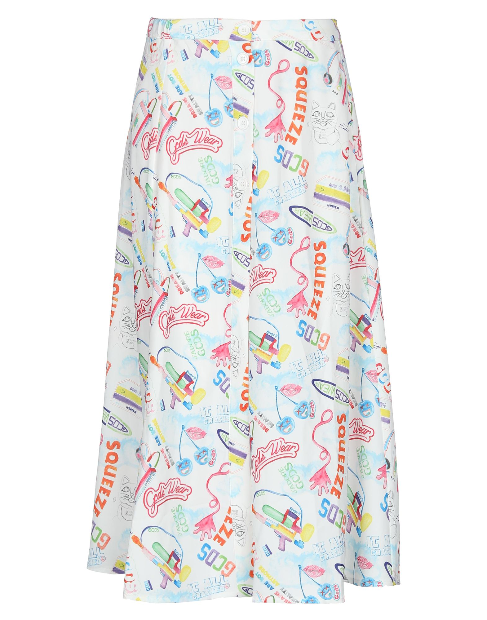GCDS 3/4 length skirts. crepe, print, logo, multicolor pattern, elasticized waist, no pockets, front closure, button closing, unlined, front slit, stretch. 95% Polyester, 5% Elastane