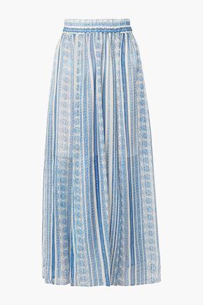 PHILOSOPHY di LORENZO SERAFINI Metallic printed silk-blend gauze midi skirt