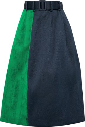 OSCAR DE LA RENTA ベルト付き ツートーン ジャカード ミディスカート