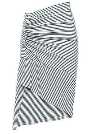 PACO RABANNE Asymmetric ruched striped stretch-cotton jersey skirt