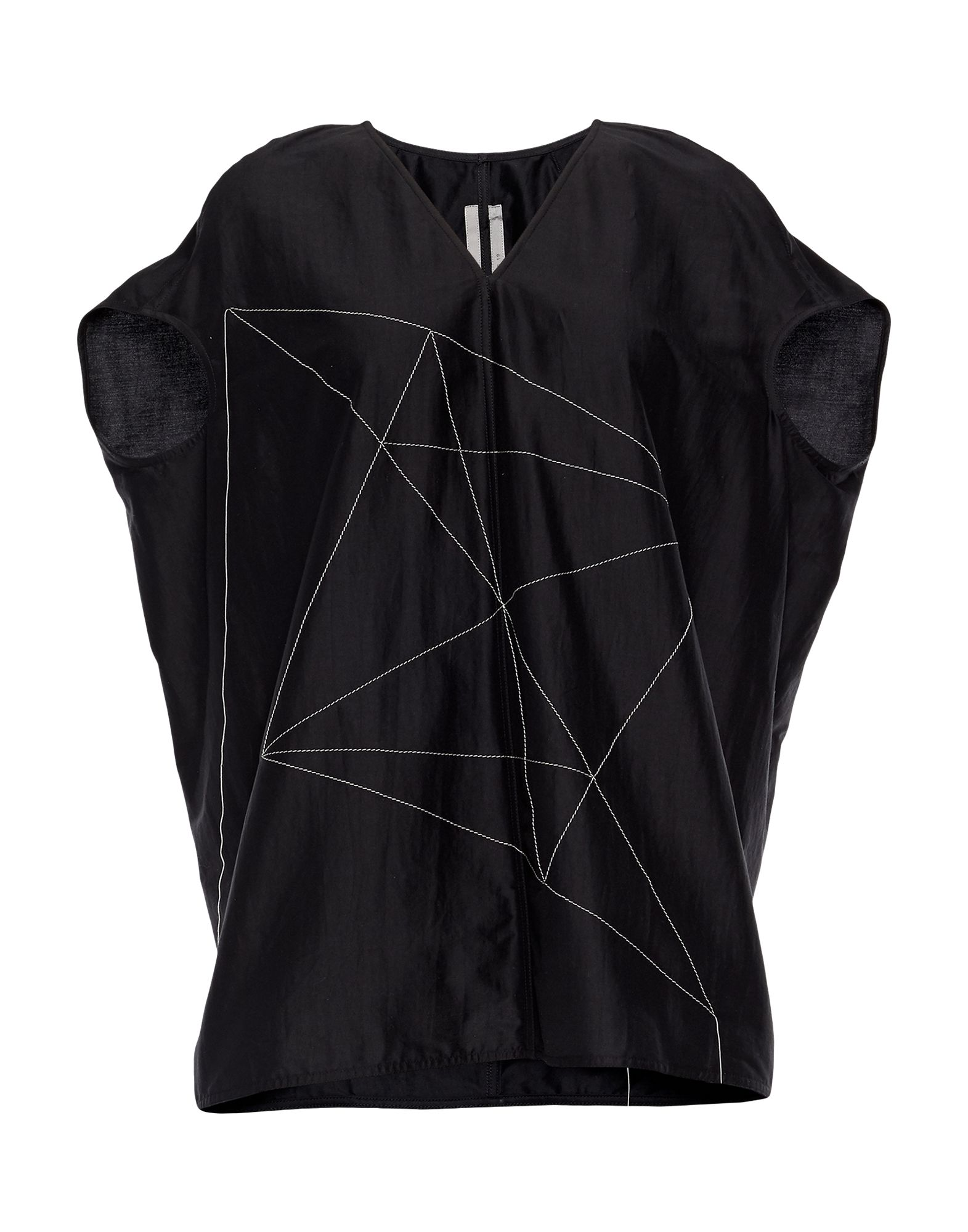 RICK OWENS Blouses. poplin, stitching, solid color, short sleeves, v-neck, no pockets, small sized. 77% Cotton, 23% Silk, Polyester