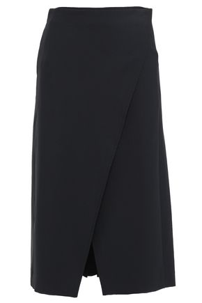 BEAUFILLE Pleated twill midi wrap skirt