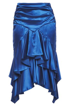 ALEXANDRE VAUTHIER Tiered ruched stretch silk-satin skirt