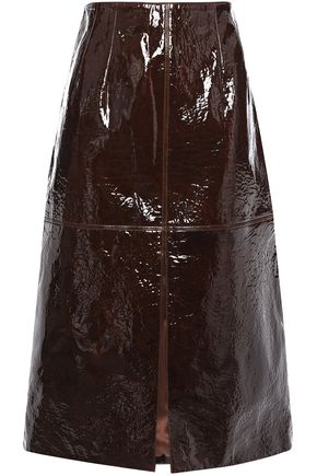 SALLY LAPOINTE Textured patent-leather midi skirt