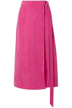 SALLY LAPOINTE تنورة متوسطة الطول وبتصميم ملتفّ من الكوبرونيكل الباهت