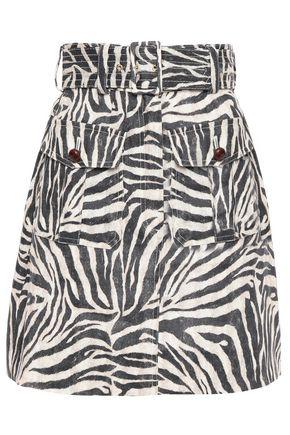 ZIMMERMANN Belted zebra-print linen mini skirt