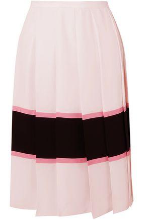 MARNI Pleated striped crepe de chine skirt
