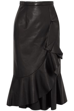 MICHAEL KORS COLLECTION Wrap-effect ruffled leather skirt