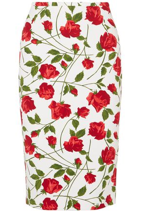 MICHAEL KORS COLLECTION Floral-print cady pencil skirt