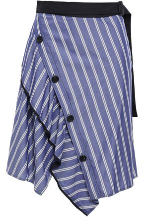 PROENZA SCHOULER Asymmetric ruffle-trimmed button-embellished striped cotton-poplin shirt